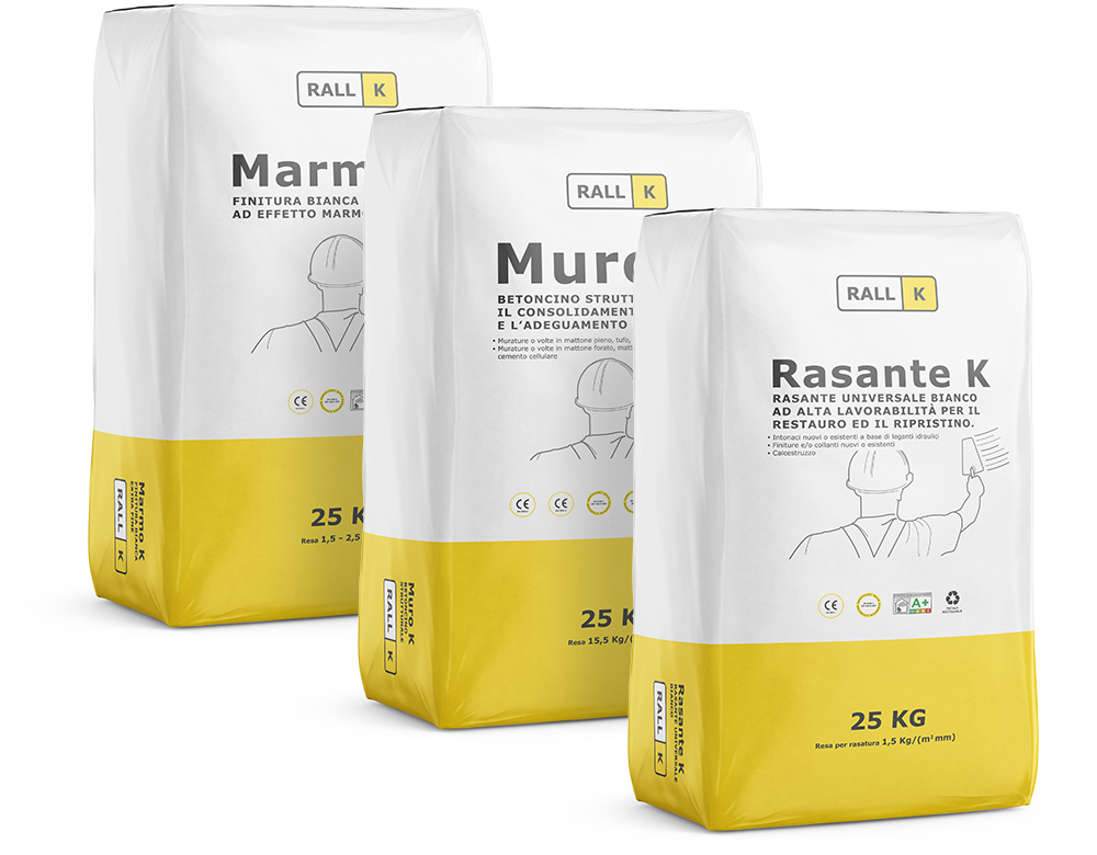 Three RALLK products: Marmo K, Muro K e Rasante K